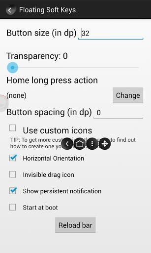 Floating Soft Keys settings menu
