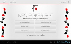 Neo Poker Bot logged in