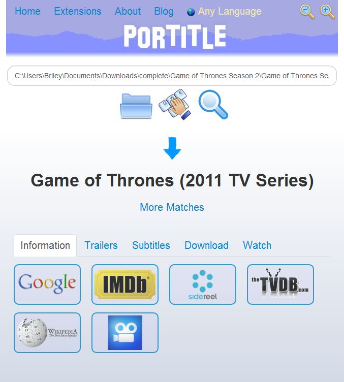 Portitle website UI