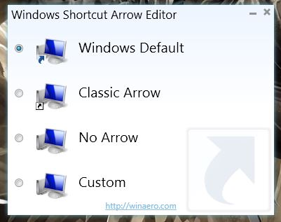 Windows Shortcut Arrow Editor UI