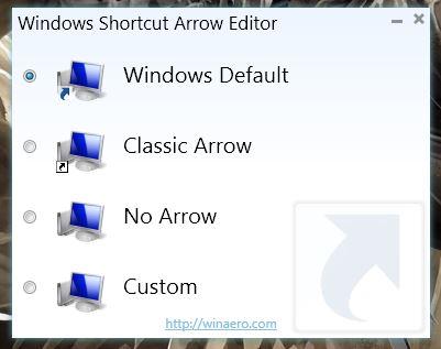 Windows Shortcut Arrow Editor UI