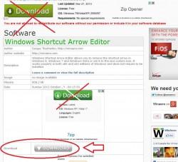Windows Shortcut Arrow Editor download page