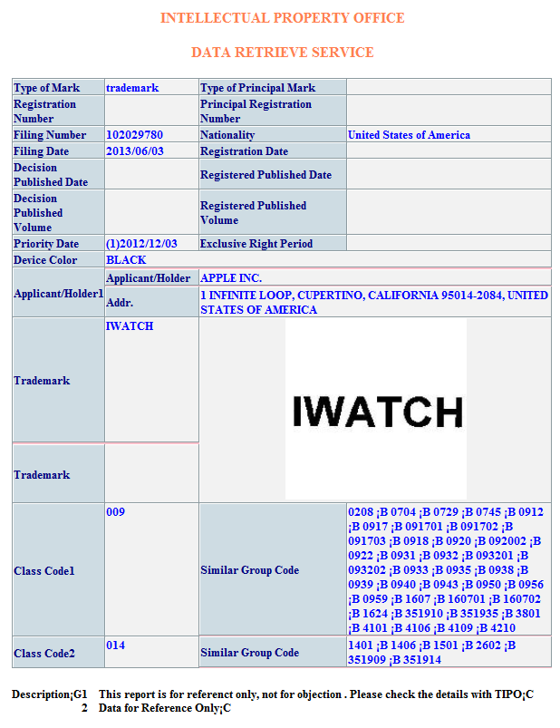 apple trademark filing for iwatch