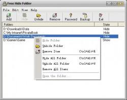 free hide folder main interface