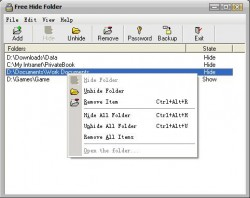 free hide folder main interface
