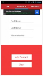 AddMeNow enter contact info