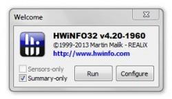 HWiNFO welcome screen
