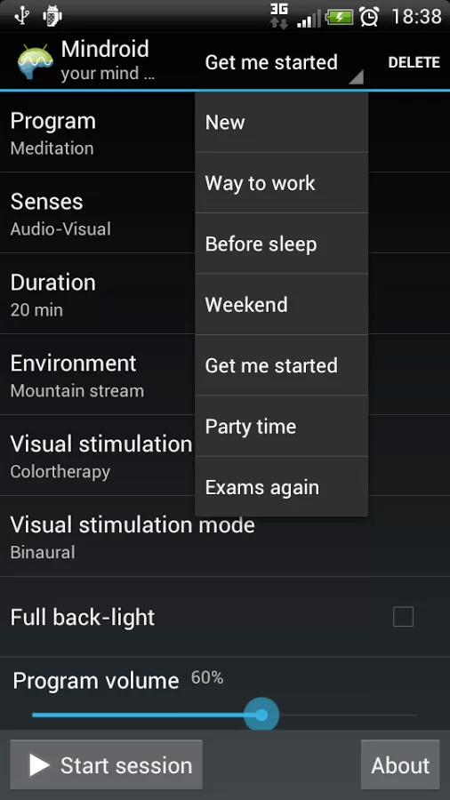 Mindroid Settings