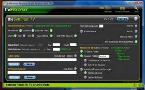 The Renamer TV settings