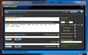 The Renamer movie settings