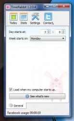 TimeRabbit settings menu