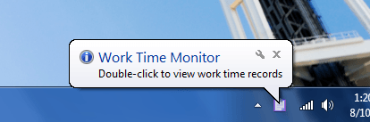 Work Time monitor system tray