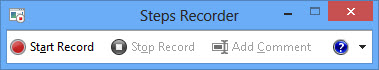 Problem Steps Recorder main window