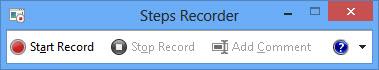 Problem Steps Recorder main window