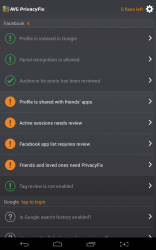 AVG PrivacyFix altered suggestions