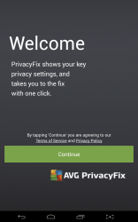 AVG PrivacyFix welcome screen