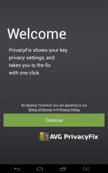 AVG PrivacyFix welcome screen