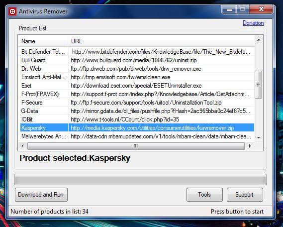 Antivirus Remover tool selected