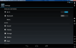 Genymotion Android settings menu