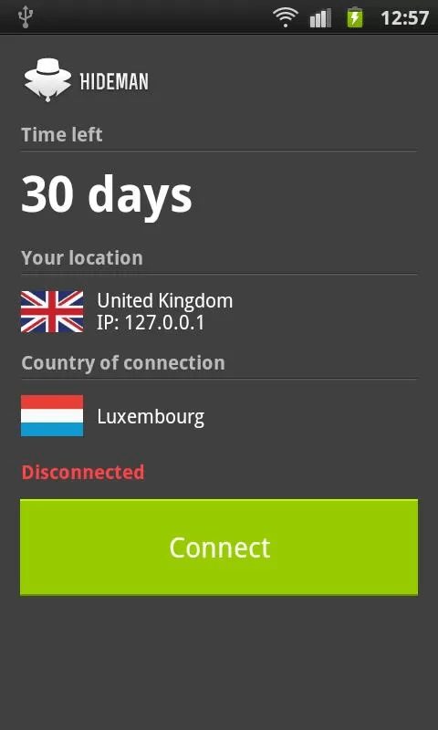 Hideman VPN connect