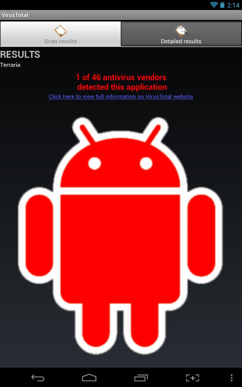 VirusTotal flagged app