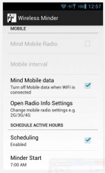 Wireless Minder schedule and more settings