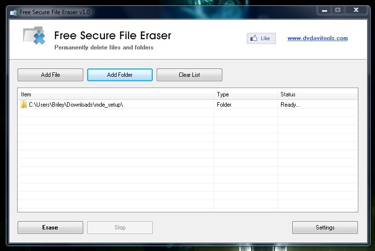 Free Secure File Eraser populated list
