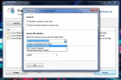 Free Secure File Eraser settings menu