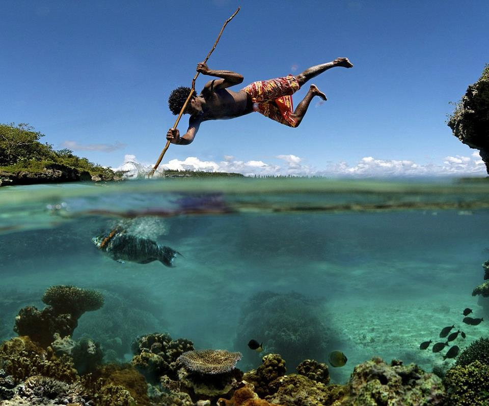 Amazing-Image-of-a-Man-Spear-Fishing-off-The-Coast-of-Jamaica