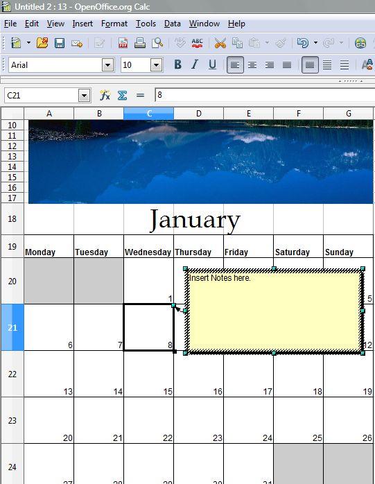 Calendar Spreadsheet 6