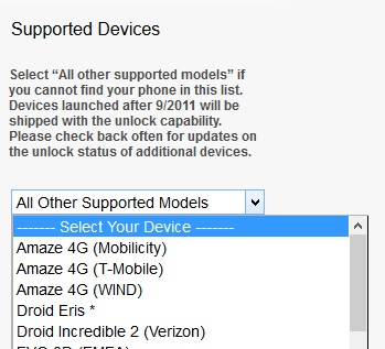 HTC bootloader list