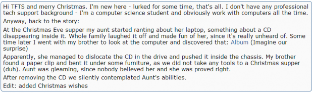 laptop ate cd