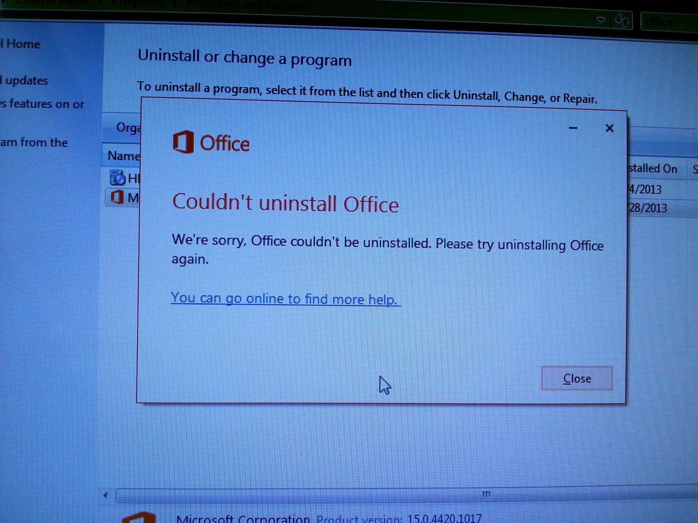 ms office wont unistall