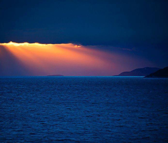 sunset over the seas