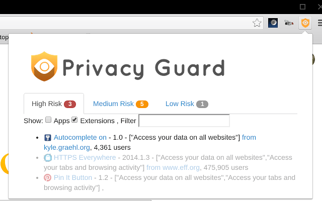 Privacy Guard for Chrome Extension
