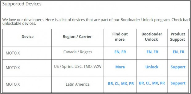 Moto X Official Bootloader Unlock Page