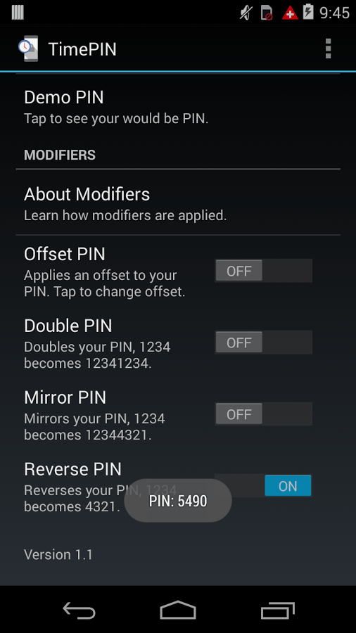 TimePIN for Android