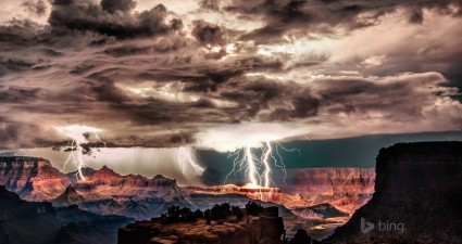 lightning storm over grand canyon