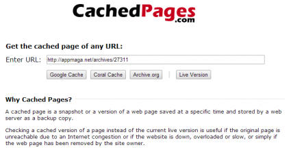 Cached Pages Online Tool free