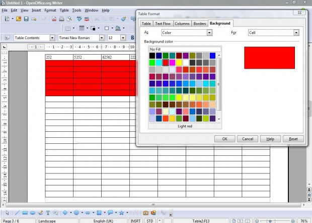 Openoffice spreadsheet4