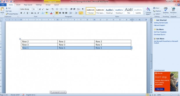 reposition table rows