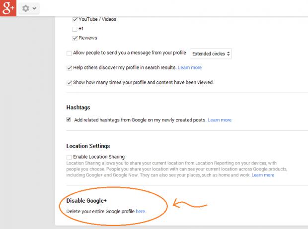 delete google plus account step c