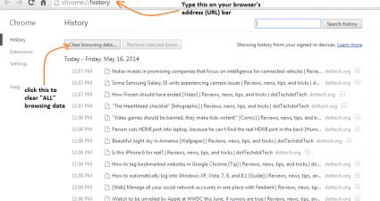 Chrome Web History Delete Basic