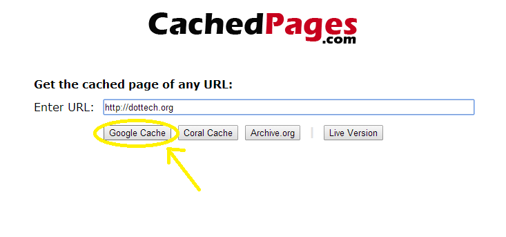 choose cached pages options