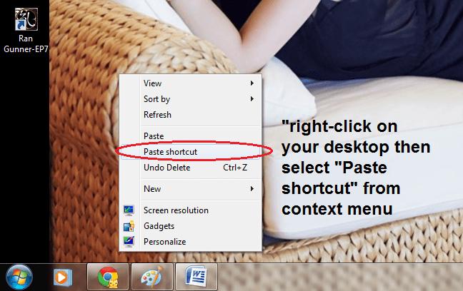Create Chrome Incognito Shortcut Windows c