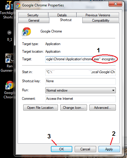 Create Chrome Incognito Shortcut Windows f