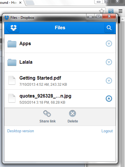Dropbox Chrome 2