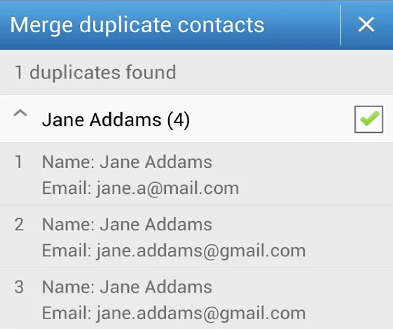 Select contacts to merge