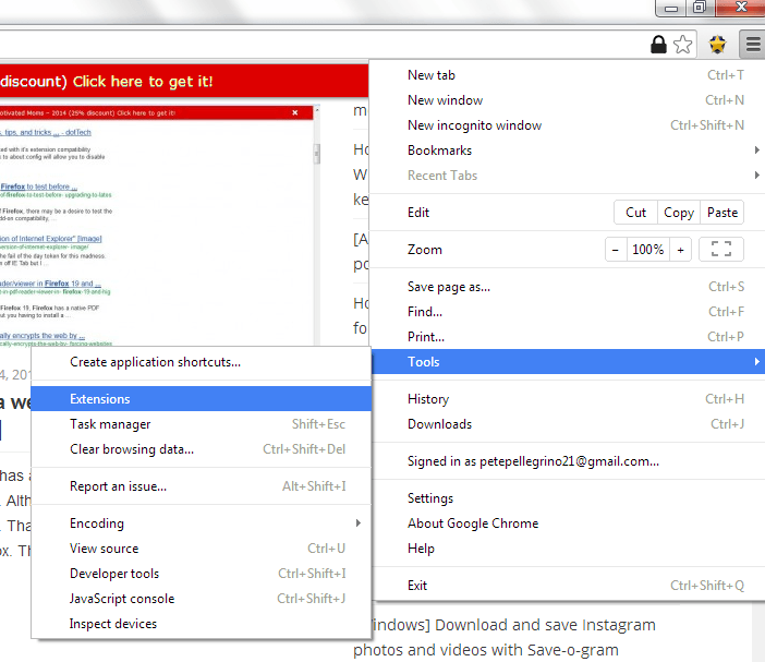 manage extensions chrome