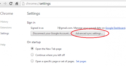 Advanced Sync Settings Chrome